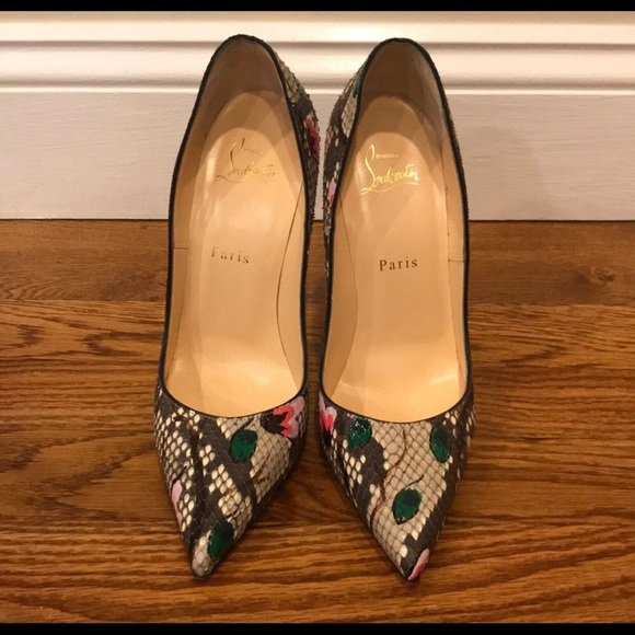 new arrivals 1b3c3 ce62f Christian Louboutin SO KATE floral Python pumps 9